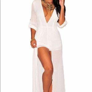 Pants - Women's white Maxi Romper